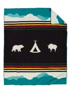 Glacier Park 100th Anniversary Blanket by Pendleton: Recalls the classic stripes of the iconic HBC, blanket, this reverses to to daytime with black on white. Made of 82% virgin wool/ 18% cotton. #Blanket #Pendleton #Glacier_Park_Blanket