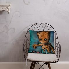 Baby Groot Button Pillow Afternoon Nap, Baby Groot, Pillow Fight, Hanging Chair, Pillows, Button, Home Decor, Hammock Chair, Cushion