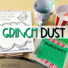 Ready to host a Grinch Day in your classroom? This FREE recipe for Grinch Dust is fun and will have your students excited about Christmas! Christmas Themes, Christmas Holidays, December Holidays, Christmas Svg, Punctuation Activities, Candy Cane Poem, Xmas Eve Boxes, Grinch Party, Green Candy