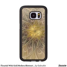 Flourish With Gold Modern Abstract Fractal Flower Wood Samsung Galaxy S7 Case