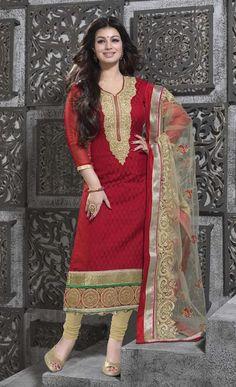 Ayesha Takia Red Banarasi Jacquard Churidar Suit 54286