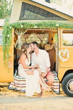 Hippie inspired wedding inspiration | Photo by Megan Welker | Design and styling by Beijos Events | Read more - http://www.100layercake.com/blog/?p=77108 #boho #wedding #vwbus