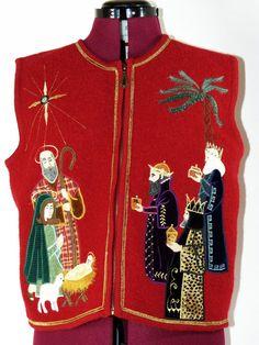 Sharon Young Women's Ladies Christmas Holiday Sweater Vest Wool Jesus #Wisemen #christmasvest #holidays