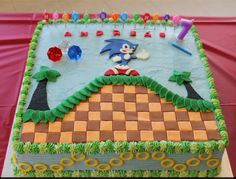 Sonic the hedgehog says happy birthday Sonic Birthday Cake, Sonic Cake, Sonic Birthday Parties, Sonic Party, Elmo Birthday, Birthday Treats, Happy Birthday, Sonic The Hedgehog Cake, Hedgehog Birthday