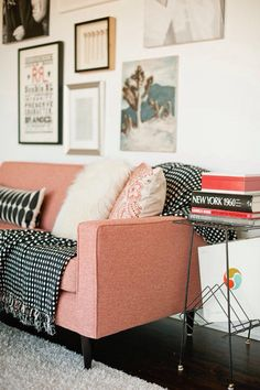 I would totally love to do this! Colored couch like this light pink or a sea green with the black and white blankets/pillows! :)