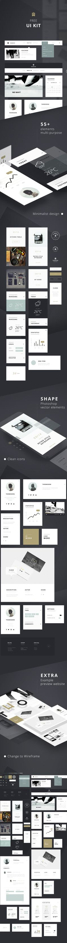 Clean White Multipurpose UI KIT for Download [PSD]