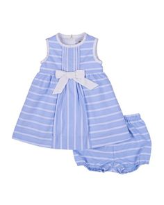 Sleeveless Ribbon-Striped Sundress, Blue/White, Size 3-24 Months by Florence Eiseman at Neiman Marcus.