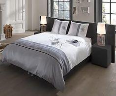 Parure de lit FLORE coton et polyester, gris et blanc - 220*240