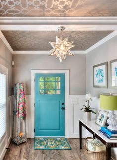 Ceiling wallpaper designs entry traditional with marble top console metallic wallpaper turquoise door Turquoise Door, Teal Door, Front Door Colors, Front Doors, Ceiling Decor, Hallway Ceiling, Office Ceiling, Wall Decor, Hallway Lighting