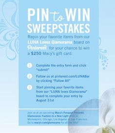 Go to www.lunabar.com/pintowin to sign up! Crazy Love, My Love, Macys Gifts, Luna Bars, Boston Interiors, Clam, Im Trying, Interesting Stuff, Giveaways
