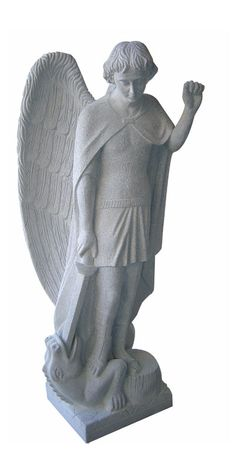 This is a beautifully carved angel statue of St. Michael. Comes in five sizes: 2′, 3′, 4′, 5′, and 6′. Standard material is Gray Granite
