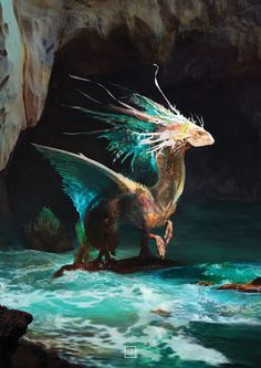 Dragon design: elements - the water dragon . Water Dragon, Sea Dragon, Green Dragon, Creature Concept Art, Creature Design, Fantasy Dragon, Fantasy Art, Dragons, Dragon Artwork