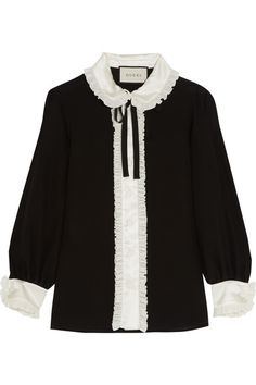 Gucci | Ruffled satin-trimmed silk crepe de chine blouse | NET-A-PORTER.COM