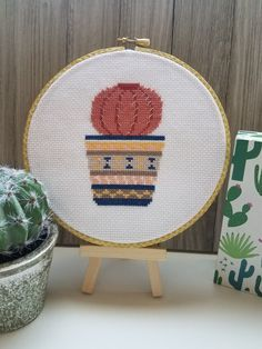 Excited to share the latest addition to my #etsy shop: Cactus Decor - Cactus Wall Hanging- Gift for Cacti Lovers - framed in 6 inch embroidery hoop - finished cross stitch #homedecor #cactus https://etsy.me/2mLRRBg