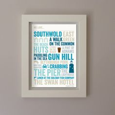 We Love Southwold A4 Typographic Poster