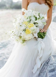Romantic & Beautiful Bride's Bouquet: Yellow English Garden Roses, White English Garden Roses, White Ranunculus, White Snapdragons, & White Sweet Pea, Hand Tied With White Crinkle Ribbon