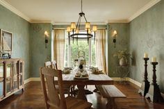 great picnic-style dining room table. gives the room such a rustic feel