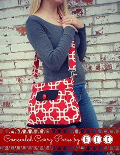 Red, White and Black Concealed Carry Purse, by GCC @ ginascraftcorner.com, #CCW #concealedcarry #red purse