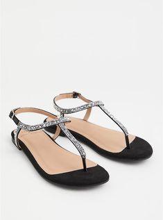 Betsey Johnson Black Rhinestone T-Strap Sandal (WW), BLACK Leather Wedge Sandals, T Strap Sandals, Leather Wedges, Wide Width Shoes, Wide Shoes, Buckle Ankle Boots, Ankle Strap, Black Rhinestone, Long Toes