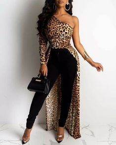 chicme / Leopard Print One Shoulder Dip Hem Blouse Next Fashion, Cute Fashion, Unique Fashion, Winter Fashion Outfits, Classy Outfits, Stylish Outfits, Beautiful Outfits, Latest African Fashion Dresses, African Print Fashion
