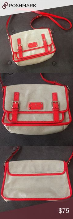 Kate Spade neon coated canvas crossbody scout bag A few marks here and there on the coated canvas. Overall very good. Approximate measurements 10 inches by 5 inches by 3 in. Strap drop maximum 21.5. From a smoke and pet-free home. kate spade Bags Crossbody Bags