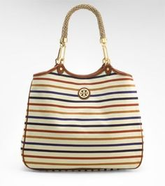Tory Burch striped channing tote