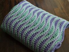 Wave Afghan in Green and Purple  Crochet Throw by jenrothcrochet. For…