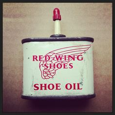 "@somebodyandsons's photo: ""1950's Red Wing Shoe Oil"" Red Wing Shoes, Ephemera, 1950s, Wings, Oil, Feathers, Feather, Ali, Butter"