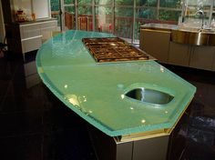 Countertops, Green Glass Kitchen Countertop: Best Peaceful Application Of Green Countertops Modern Countertops, Green Countertops, Kitchen Countertops, Glass Kitchen, Kitchen And Bath, Kitchen Modern, Kitchen Dining, Dining Room, Black Decor