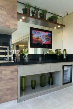 Inspiração ♡ #interiores #design #interiordesign #decor #decoração #decorlovers #archilovers #inspiration #ideias #varanda #terraço #churrasqueira #gourmet