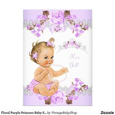 Floral Purple Princess Baby Shower Blonde Girl 5x7 Paper Invitation Card