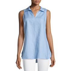 Neiman Marcus Linen Sleeveless Collared Tunic (74 CAD) ❤ liked on Polyvore featuring tops, tunics, denim blue, blue sleeveless top, print tops, print tunic, blue tunic and v-neck tunic