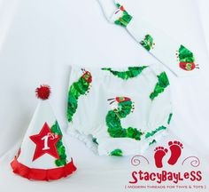 Cake Smash Party Set in Very Hungry Caterpillar - hat necktie diaper cover - ORIGINAL Design by StacyBayless