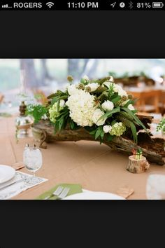 Rustic wood centre pieces