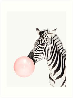 Buy 'Zebra print, Bubble gum, Nursery art, Zebra wall art, Animal, Kids room, Modern art, Wall decor' by Julia Emelianteva as a Sticker, Poster, Throw Pillow, Tote Bag, Art Print, Canvas Print, Framed Print, Photographic Print, Metal Print...