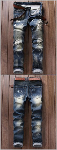 Broken Hole Ruched Design Moto Jeans