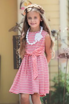 Lizzette Dress in Stripe and Clear Lace Necklace by Persnickety (Pocketful of Posies) Toddler Girl Dresses, Flower Girl Dresses, Toddler Girls, Cheap Kids Clothes, Dope Clothes, Children Clothes, Persnickety Clothing, Little Girl Photography, Baby Boy Fashion