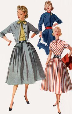 1950s Dress with Full Skirt and Matching Jacket Simplicity 4207 Vintage 50s ROCKABILLY Sewing Pattern Size 12 Bust 30 UNCUT by sandritocat on Etsy