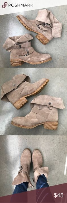"""Dolce Vita Buckle Suede Booties Super versatile booties! Brown/taupe. Slouchy look, can be worn up or down. 1.5"""" heel. Untreated water markings, but potentially treatable. Great pair of booties. *NOT DV for Target* Dolce Vita Shoes Ankle Boots & Booties"""