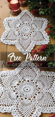Most current Free Crochet Doilies easy Strategies Gift Bag Doily – Pattern Free – Easy Crochet Free Crochet Doily Patterns, Crochet Doily Rug, Crochet Dollies, Thread Crochet, Crochet Gifts, Filet Crochet, Crochet Home, Easy Crochet, Crochet Doily Diagram