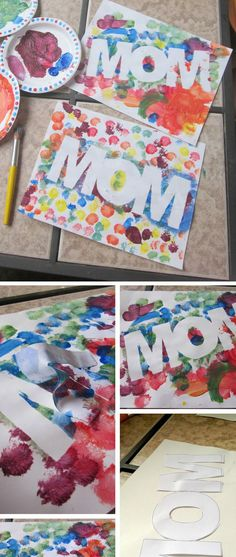 Colorful Mom Paint Craft | Easy Mothers Day Crafts for Toddlers to Make | DIY Birthday Gifts for Mom from Kids
