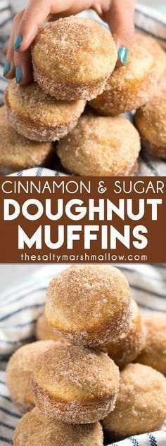 Cinnamon Sugar Donut Muffins: An easy recipe for cinnamon sugar muffins that taste like an old fashioned donut! These simple muffins bake up in no time and are perfect for breakfast. Donut Muffins, Mini Muffins, Donut Cupcakes, Vegan Muffins, Recipe For Muffins, Donuts Donuts, Carrot Muffins, Savory Muffins, Protein Muffins