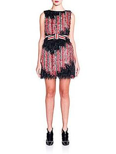 Fendi Silk Striped Fringed Dress - Black- - Size 38