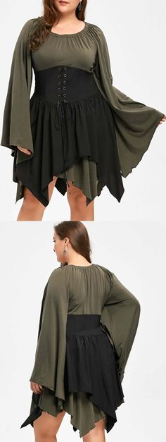 Up to 80% off, Wholesale Plus Size Batwing Sleeve Lace Up Handkerchief Dress Xl Army Green Online. Cheap Plus Size Summer Dress And Plus Size Little Black Dress on Rosewholesale.com,rosewholesale,rosewholesale.com,rosewhole dress plus size,cheap clothing, affordable clothing, plus size, plus size tops, fall, fall fashion 2017,lace up, purple, women's top, halloween costume, christmas party wear, christmas gift diea,online shopping, lace up,extra 10% off coupon code:HALLOWEEN,army green,lace…