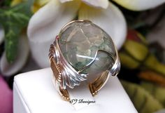 Verascite Cabochon Ring Size 8 Shirley Jackson by ShirleyJDesigns