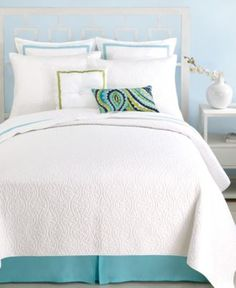 Trina Turk Bedding, Santorini White Twin Coverlet - Quilts & Bedspreads - Bed & Bath - Macy's