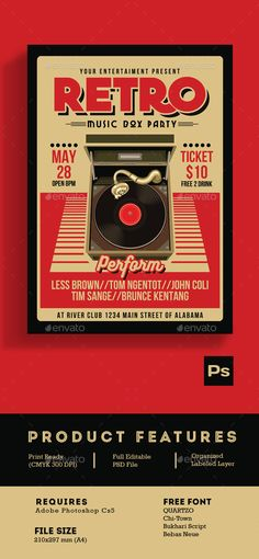 Retro Music Box Party Flyer Template PSD. Download here: https://graphicriver.net/item/retro-music-box-party-2/17109567?ref=ksioks