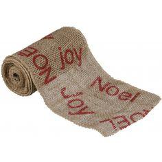 6 Inch Joy Noel Burlap Ribbon