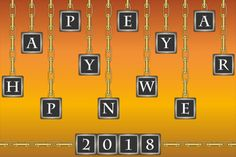 orange background with text happy new year 2018 and golden chains