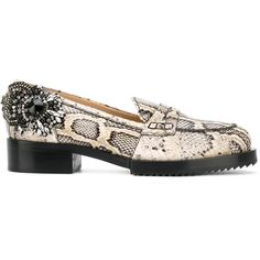 Nº21 snakeskin effect embellished loafers (8.616.310 IDR) ❤ liked on Polyvore featuring shoes, loafers, multicolor, snake skin shoes, multi colored shoes, genuine leather shoes, rubber footwear and multicolor shoes